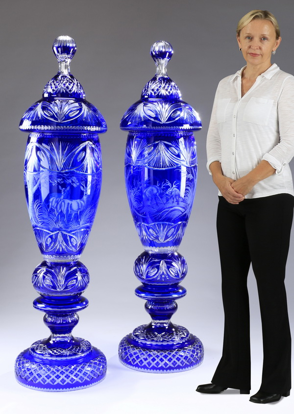 Monumental Bohemian crystal vases, 54