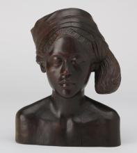 Carved ebony bust of an African woman