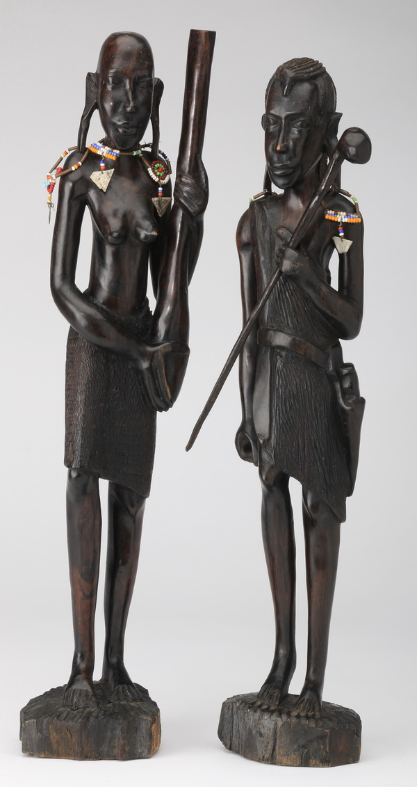 Pair of male and female carved ebony figures, 17