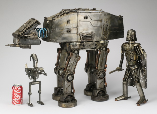 (3) Outsider metal sculptures resembling 'Star Wars'