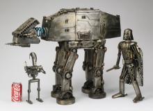 (3) Outsider metal sculptures resembling 'Star Wars'