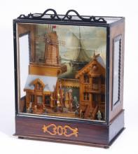 19th c. Dutch musical automaton w/ windmill and ships