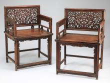 (2) Chinese pierce carved armchairs, 43
