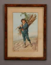 Dominico deAngelis signed W/c, 19th c.