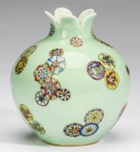 Chinese celadon pomegranate vase w/ floral balls, 5