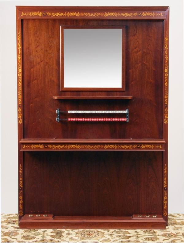 Italian marquetry inlaid mahogany cue rack