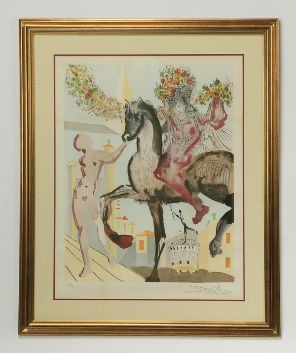 Salvador Dali signed lithograph, titled 'Harbinger'