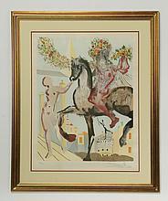 Salvador Dali signed lithograph, titled 'Harbinger'