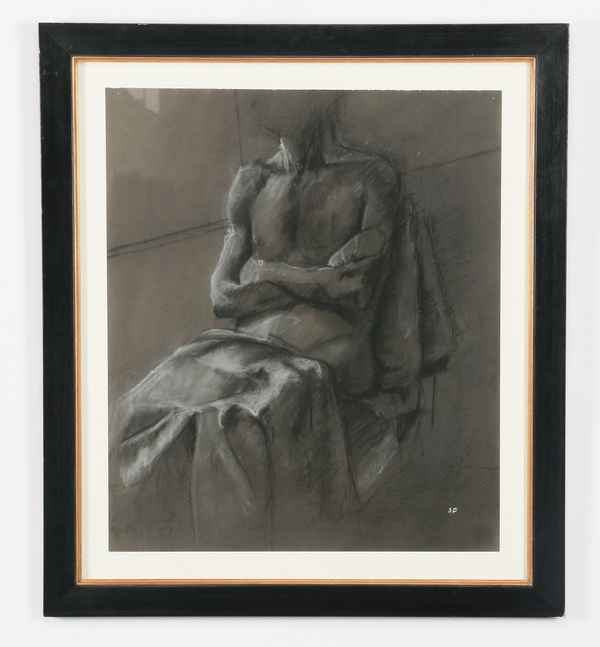 Stephen Floyd signed, charcoal on paper of seated man