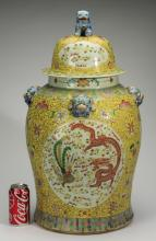 Chinese yellow ground famille rose lidded jar, 28