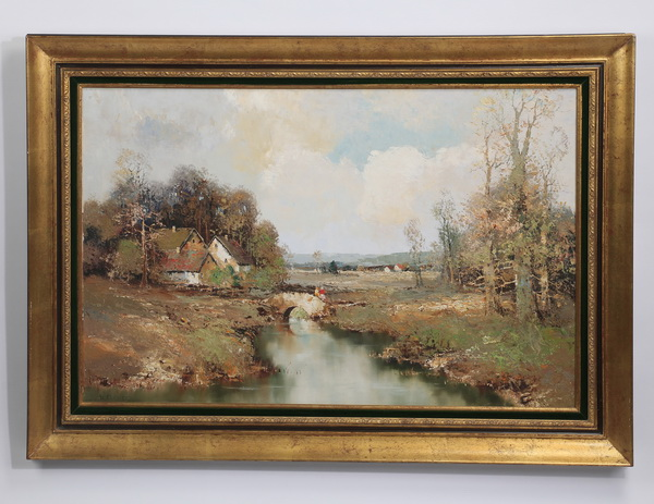 Max Bauer (American) signed, O/c rural landscape