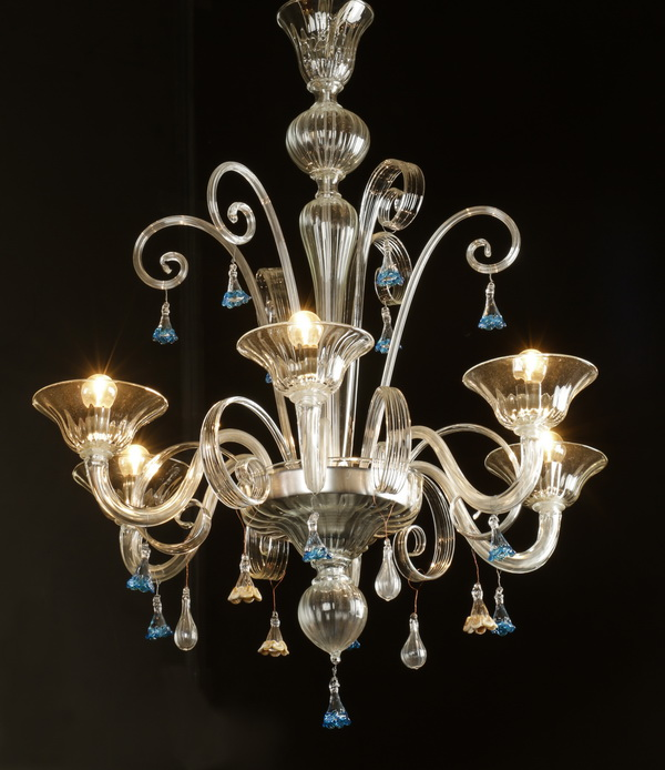 Contemporary Venetian style 6-arm chandelier, 36