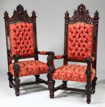 (2) Jacobean style throne chairs, 70