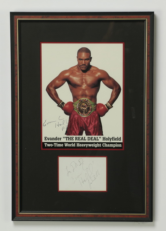 Framed autograph w/print of Evander Holyfield