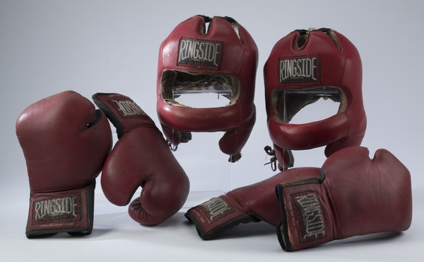 Vintage boxing gear - gloves and head protectors