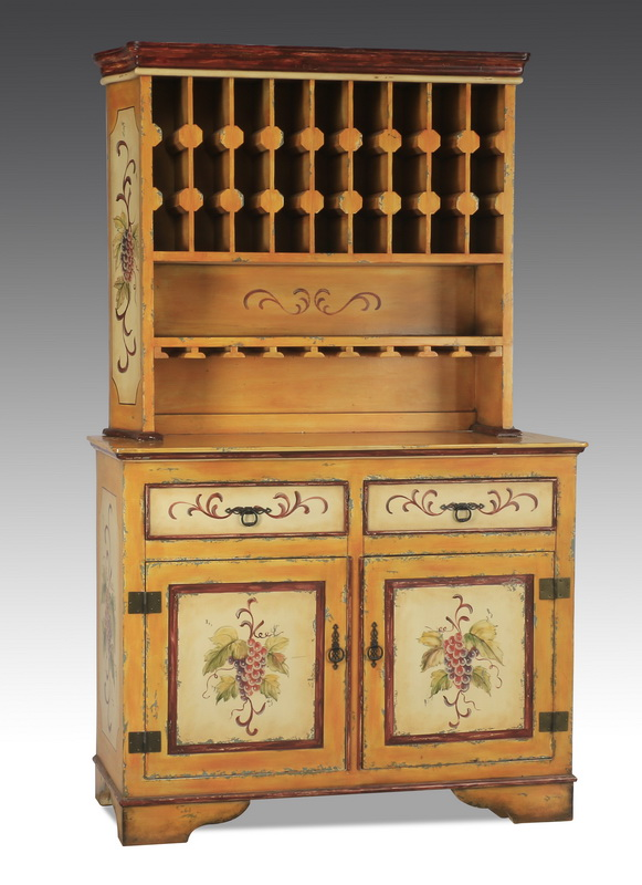 Paint-decorated buffet, with wine rack, 80