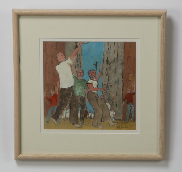 Frank Kleinholz gouache /paper, boys playing, signed
