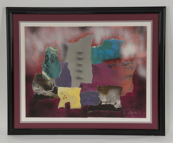 Laszlo Dus abstract lithograph, w/ artist's initials