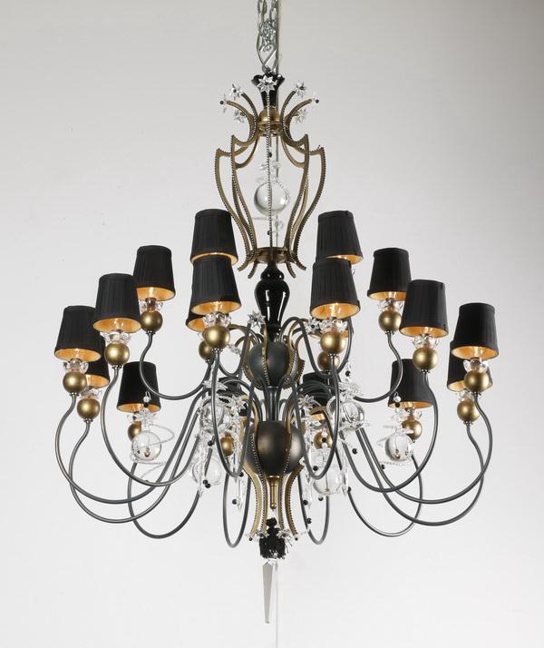 Schonbek patinated metal, crystal chandelier