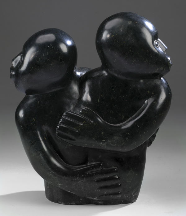 Sylvester Mubayi signed marble sculpture, 'Two Faces'