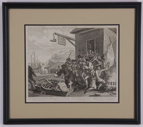 (3) William Hogarth framed engravings, 18th c