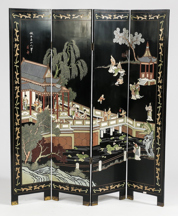 Chinoiserie style four panel double sided screen