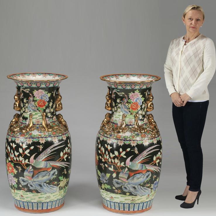 (2) Chinese famille noire porcelain floor vases, 36