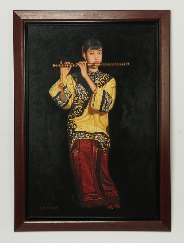 Chinese O/b of woman playing the dizi, signed, 49