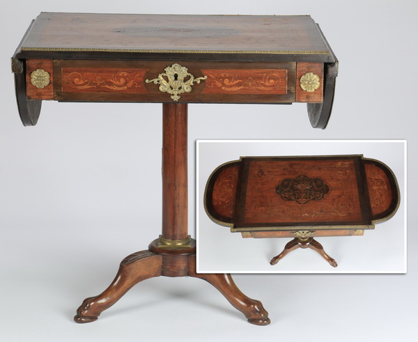 Marquetry inlaid drop leaf table, 27