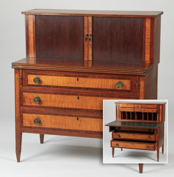 Sheraton style tambour desk, late 19th c.
