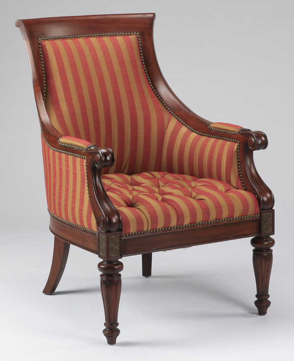 Empire style armchair upholstered in striped fabric