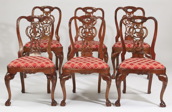 (6) Chippendale style upholstered side chairs