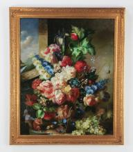 Oversized oil on canvas floral still life, 46