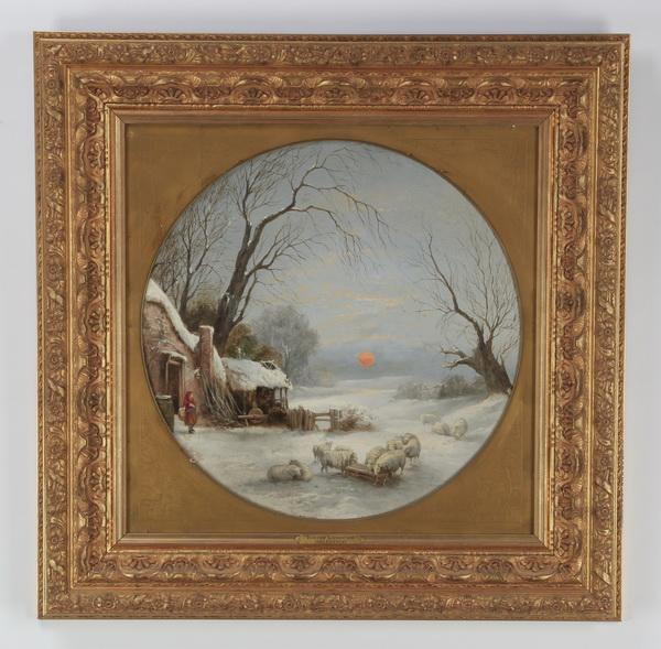 19th c. O/artist board, 'Winter Landscape'