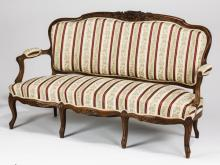 19th c. French Louis XV style carved walnut settee