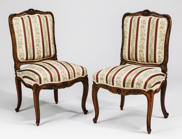 Pair of 19th c. French Louis XV style side chairs