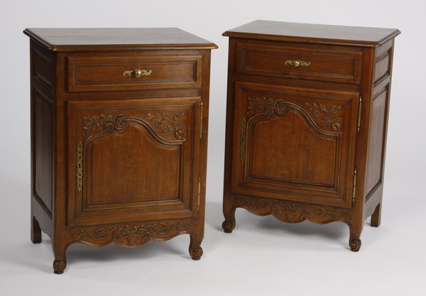 (2) French Provincial style walnut side cabinets