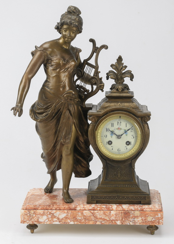 French mantel clock with rose marble, 19th c.