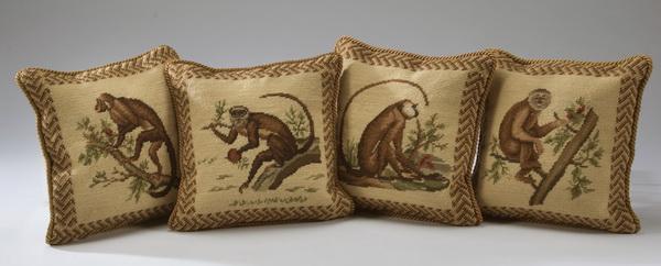 (4) Needlepoint monkey pillows