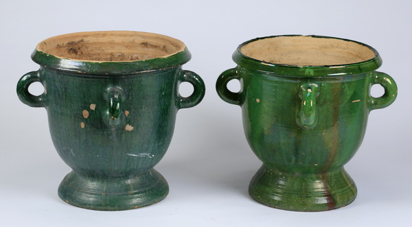 (2) French terracotta jardinieres