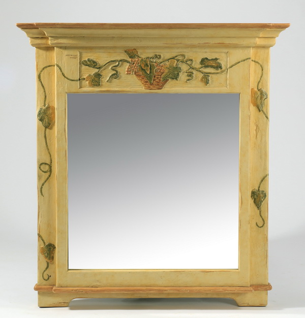 Paint decorated overmantel mirror, 51.5