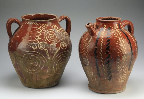 (2) 19th c. slip decorated water jars