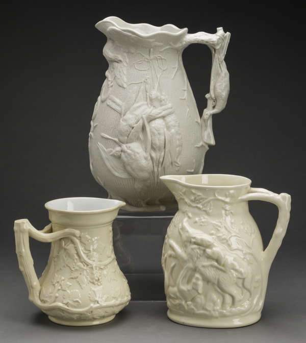 (3) 19th c. English Drabware pitchers incl. Minton