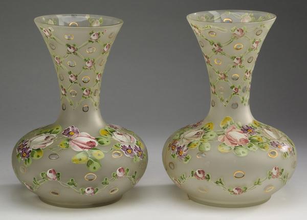 (2) Enamel decorated glass vases, 12
