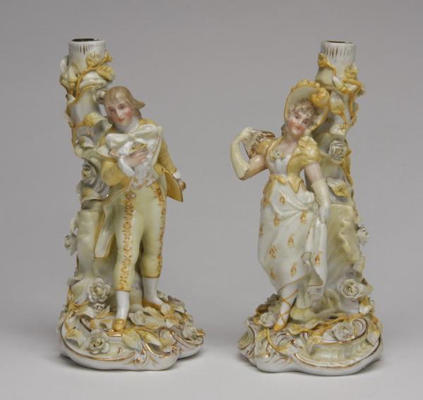 Late 19th c. Sitzendorf figural candleholders