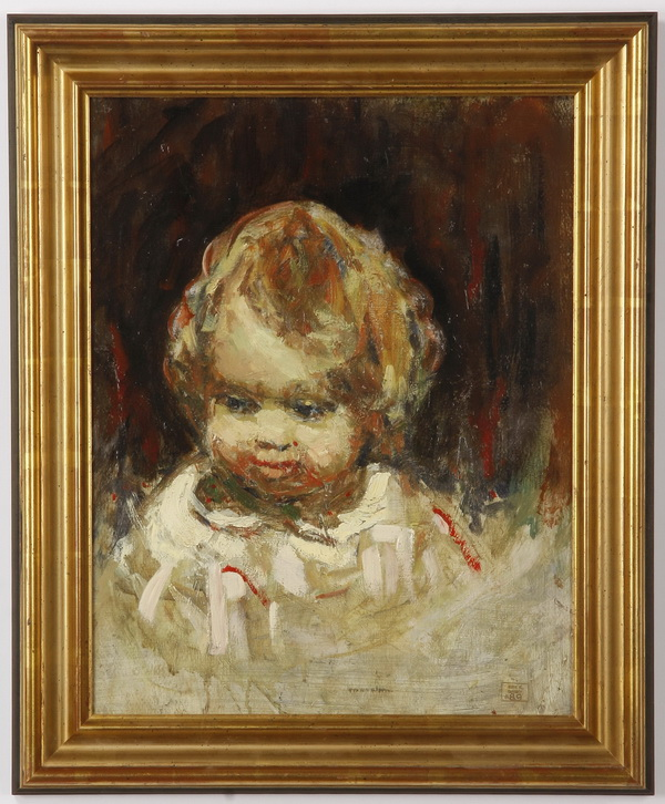 Early 20th c. oil on panel portrait, signed