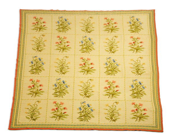 Needlepoint rug with floral panels, 10' x 8'