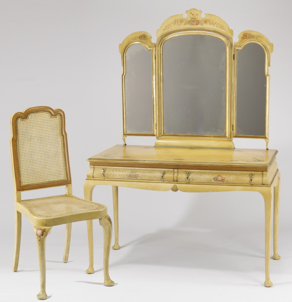 Venetian chinoiserie style vanity, mirror, & chair