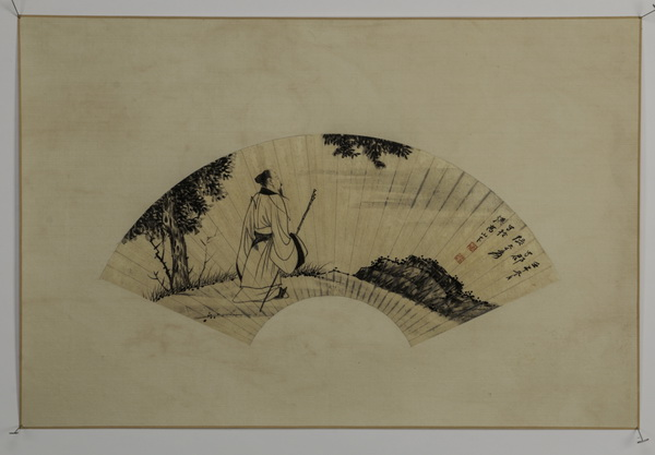 Chinese watercolor fan painting of Confucius, 30