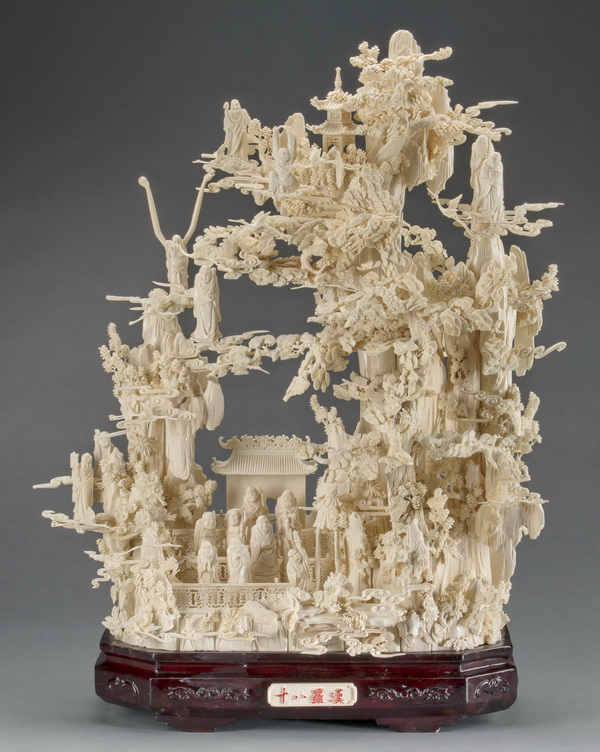 Chinese bone carving of 18 Louhan on sacred mountain